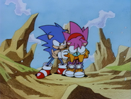 Amy saved by Sonic from Little Planet
