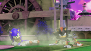 Sonic and Shadow on the ground