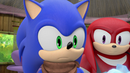 Sonic and Knuckles watching Amy cry