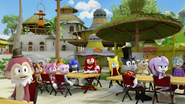 Villagers laughing at Eggman
