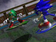 Sonic y Jet persiguiendo a Eggman