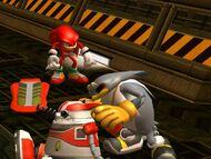 Knuckles y Storm con los restos de E-10000R