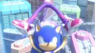 Sonic grabs on Blaze's legs