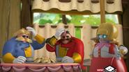 Mombot talking to injured Eggman and Morpho