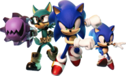 Sonic Forces Avatar, Sonic and Classic Sonic key artwork