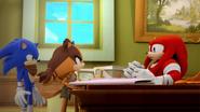 S1E32 Sonic Sticks Knuckles desk