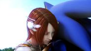 Elise abraza a Sonic