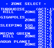 Sonic Chaos Level Select