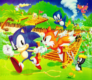 Sonic, Tails and Animals at bridge - 1992
