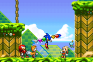 Sonic with all Chaos Emeralds (Sonic Advance 2)