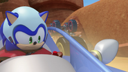Sonic in his car