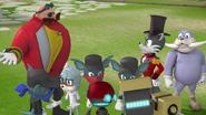 Villains chatting at the Village Center