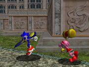 Sonic es perseguido por Amy