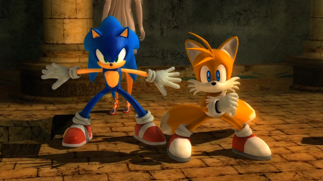 File:Sonic and Tails stand together Sonic 2006.png