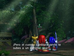 Sonic, Tails y Knuckles escuchando a Jet