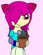 Brooke with a plant pot