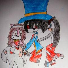 Marsh duszący Kaito, a Zuza i Ada próbują go odciągnąć (Art by <a href=