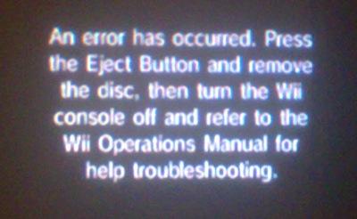 user blog bloodnova828 wii errors sonic fanon wiki fandom rh sonicfanon wikia com wii operations manual an error has occurred Wii Disc Error