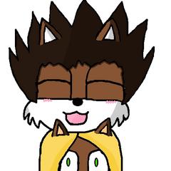 Zdziwiona Mariko i tulący ją chibi Aaron (Art by <a href=
