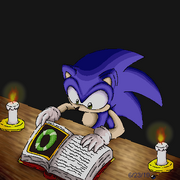 Sonic reading a book