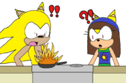 Oscar and Nancy seeing fire on the pan