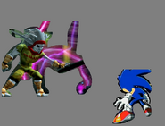 Sonic backing away from Dark Jak