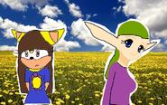 Nancy and Terra in a flower field