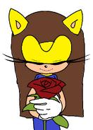 Nancy holding a rose