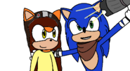 Sonic and Julie taking a selfie