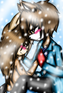 Castiel y lina cuddle in snow