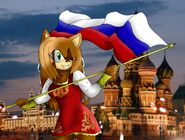 Kyoko with Russia flagg