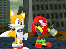 Knuckles bringing the Chaos Emeralds