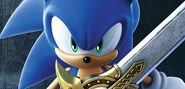 Sonic holding Samantha's sword