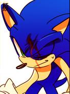 Sonic's head is bleeding