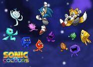 Sonic und Tails mit Wisps