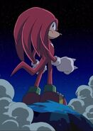 Knuckles after saving Tails and Amy in episode 1