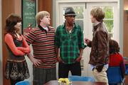 Chad talking to Sonny, Cloudy(Grady) and Rainy (Nico)