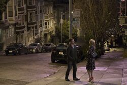 Eddie and Anne meet on the street promotional still