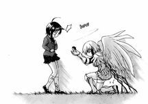 Ikaros presents Tomoki to Tomoko, requesting that she merge with him