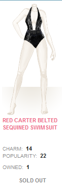 Red Carter Belted Sequined Swimsuit