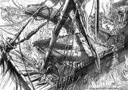 Sinking Merchant Ship concept art
