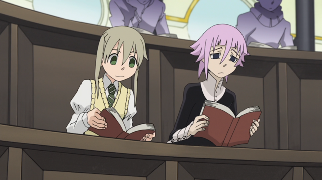 File:Soul Eater Episode 31 HD - Maka and Crona study in Crescent Moon 1.png