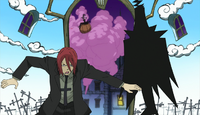 Soul Eater Episode 1 - Death and Spirit witness Maka and Souls fight with Blair through his mirror