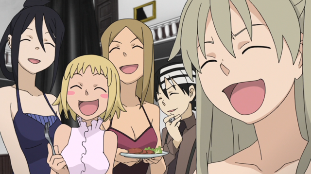 File:Soul Eater Episode 31 HD - Maka, friends laugh.png