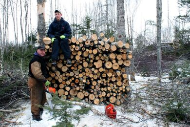 Andy Paton Spencer Paton cutting wood
