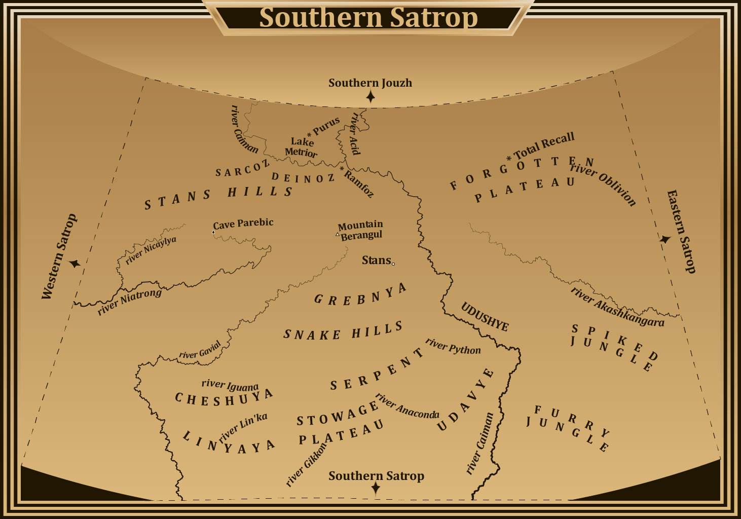South Satrop Is The Southern Part Of Szatrop Third Circle World Tears Which Lies Between Western Sutrop Juzh East And