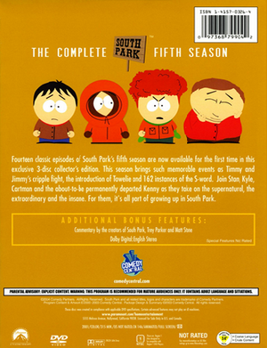 South Park The Complete Fifth Season - Back Cover