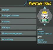 Professor chaos ref sheet