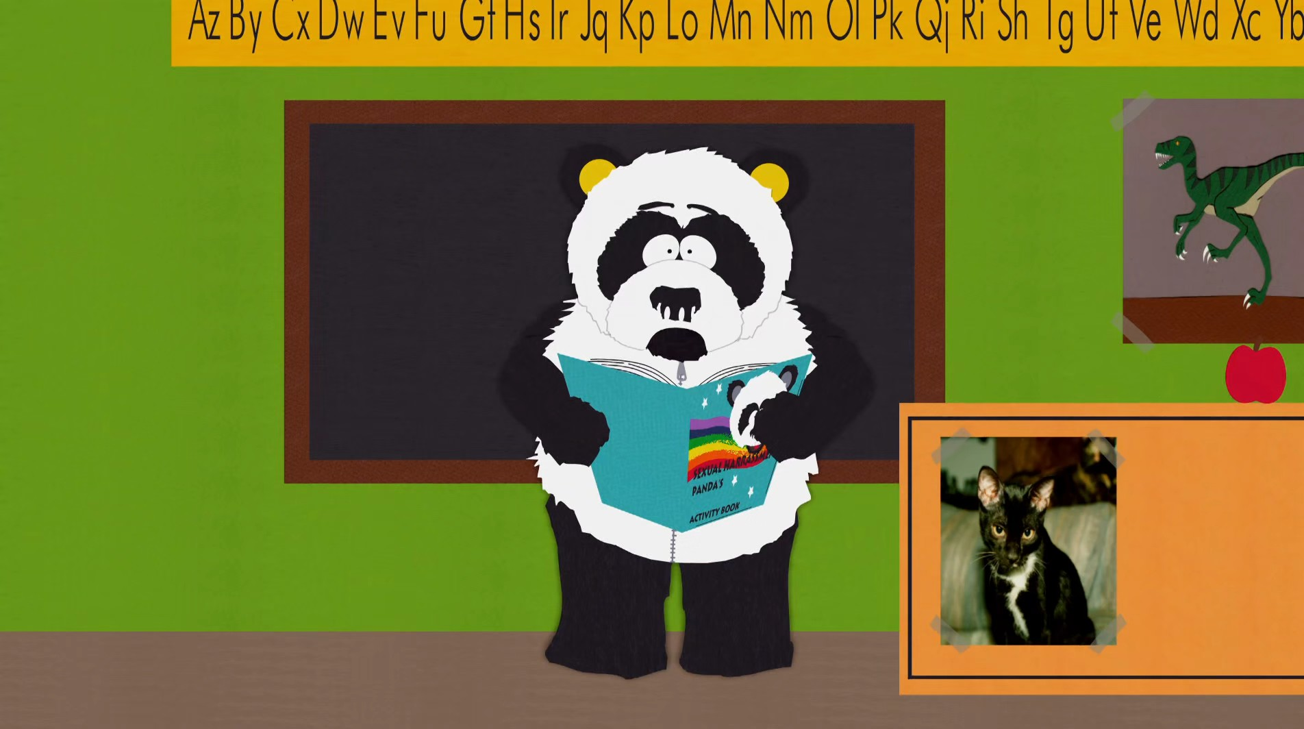Sexual harassment panda cartoon head
