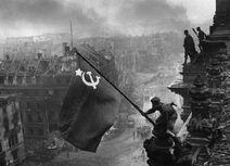 Falg raising over Stalingrad